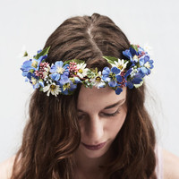 Blue Wildflower Crown, Bridal Flower Crown, Bohemian Flower Headpiece, Something Blue, Blue Flower Crown, Wedding Crown, Bridal Crown, Tiara