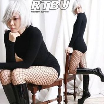 RTBU Punk Club Mock Neck Gym Dance Warm Bodysuit+Belt S