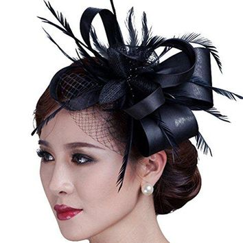 elainecloset cambric Fascinator Wedding Evening Party Derby Hat With Veil Feather Hair Clip