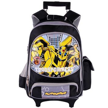 Transformers cartoon trolley/wheels children/kids school bag books rolling backpack with detachable for boys grade/class 1-3