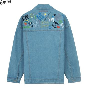 Blue Scrawl Embroidered Boyfriend Denim Jacket Women Casual Pockets Buttons up Front Long Sleeve Turn Down Collar Coat
