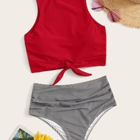 Knot Hem Top With Ruched High Waist Tankini Set