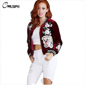 Women's Embroidered Bomber Jacket