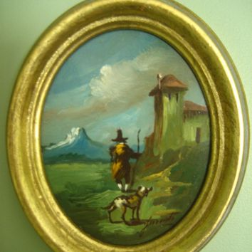"Original Oil Painting 5"" Small Florentine Gold Frame Signed Antique Vintage"