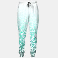 Gradient turquoise blue and white swirls doodles Sweatpants, Live Heroes