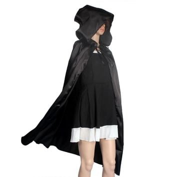 JECKSION Hooded Cloak Coat,Black Red Wicca Robe Medieval Cape Shawl Halloween Party S/M/L/XL Plus Size #LWN
