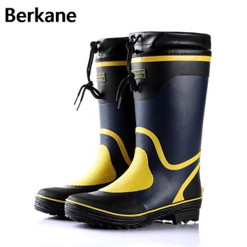 Rubber Rain Boots Men Winter Fishing Boots High Water Shoes Pvc Gummistiefel Rainboots Flat Anti-slip Plus Size 46 Free Shipping