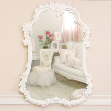 Shabby Rococo Rose French Mirror