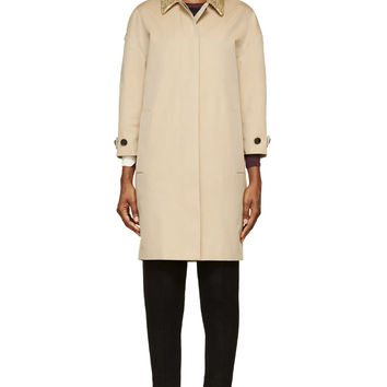 Burberry London Beige Embellished Collar Coat
