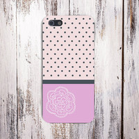 Navy Polka Dots x Pink Flower Phone Case for iPhone 6 6 Plus iPhone 5 5s 5c 4 4s Samsung Galaxy s6 s5 s4 & s3 and Note 5 4 3 2