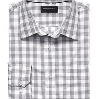 Banana Republic Mens Factory Tailored Fit Non Iron Line Plaid Shirt
