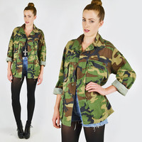 vtg 80s 90s grunge military ARMY green CAMOUFLAGE camo print slouchy OVERSIZED shirt jacket coat S M L