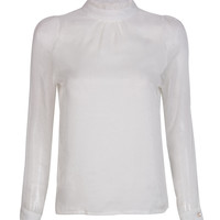 White High Neck Frill Trims Keyhole Back Sheer Sleeve Blouse