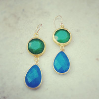 summer fashion long  DUAL  forest green jade stone cobalt blue drop earrings textured matte golden frame gemstone earrings Israel