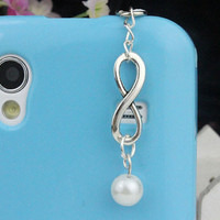 3.5mm Silvery Infinity Wish And Pearl Dust-proof Plug  For iphone 4s,iPhone 4,iPhone 3gs,iPod Touch 4,HTC,Nokai,Samsung,Sony