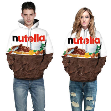 New Autumn Winter Men/women Hoodies With Cap Print Nutella Food Hip Hop Hooded 3d Sweatshirts Hoody