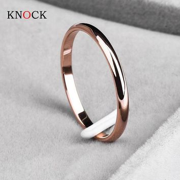 ac spbest KNOCK Titanium Steel Rose Gold Anti-allergy Smooth Simple Wedding Couples Rings Bijouterie for Man or Woman Gift