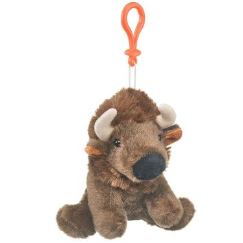 "Wildlife Tree 5"" Bison Buffalo Stuffed Animal Clips for Kids Backpack Toy"