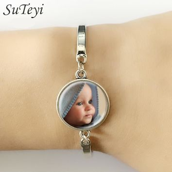 SUTEYI Personalized Custom Golden Bracelet Photo Of Your Baby Mum Of The Child Grandpa Parent Well-Beloved For The Family Gift