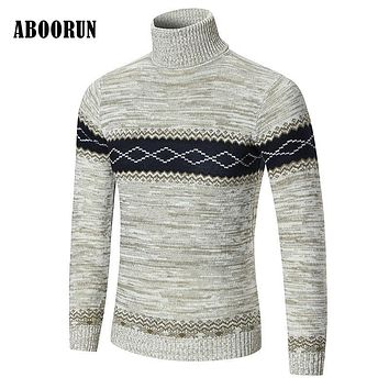 ABOORUN Mens Turtleneck Sweaters 2017 New Arrival Winter Thick Knit Wool Pullovers Male Leisure Warmer Clothing W2137
