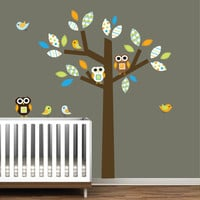 Childrens Pattern Tree Decal with BirdsOwlsNursery by Modernwalls