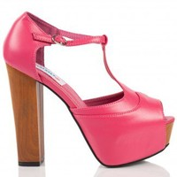 Summer Peep Toe Platform Heels in Pink Leather - Footwear