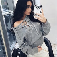Long Sleeve Winter Strapless Tops Sweater [9605233423]