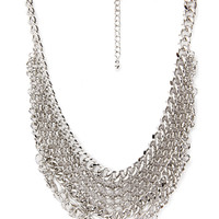 FOREVER 21 Layered Chain Necklace Silver One