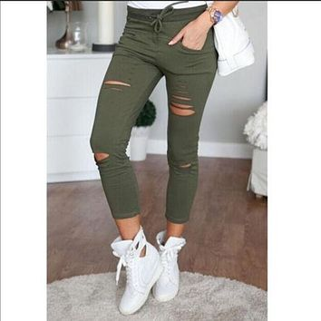 Ladies Stretch Faded Ripped Jeans