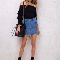 Cherry Sky Denim Mini Skirt