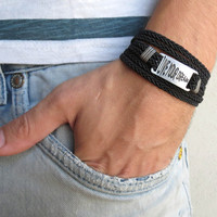 Men's Bracelet - Black Leather Bracelet With Silver Plated Words 'Live Your Dream' - Mens Jewelry - Word Jewelry - Gift for Him