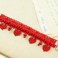 Victorian Bracelet – Red Hearts – Red Coral – Crochet Lace Bracelet – Beaded Bracelet – Chunky Bracelet - Fiber Art Jewelry