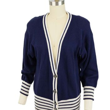 80s Nautical Inspired Navy White Cardian Sweater
