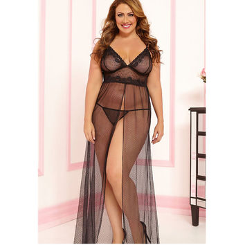 Women Plus Size XXL  Black  Mesh sheer night dressing gown dress Sexy long nightgown sleepwear nightie lingerie large
