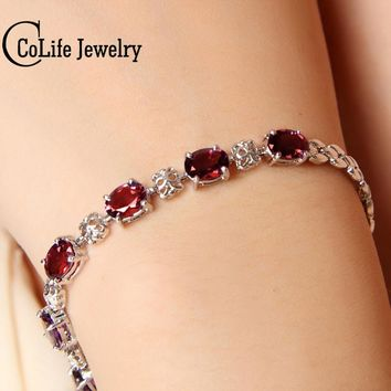 Luxurious natural garnet bracelet high quality 925 Solid Sterling Silver 6 ct garnet silver bracelet garnet stone woman jewelry