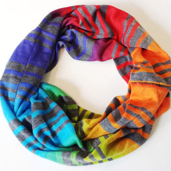Vivid Rainbow Ombre Striped Childrens Scarf Toddler Fall Fashion Accessories Kids Scarves Girls Infinity Scarves Ombre Toddler Fashion