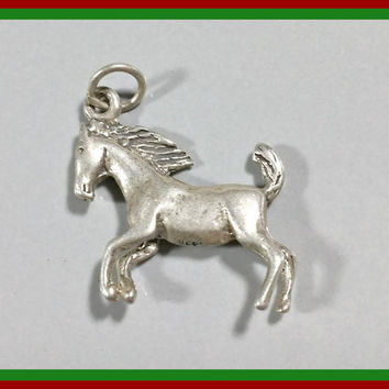 Vintage Silver Charm Horse Mustang Colt Charm Bracelet Charm Petite Fun Nice Detail Running Horse Can Be Worn As Charm or Necklace Pendant