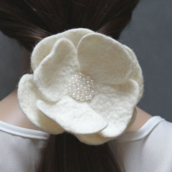 White Flower - felt flower - Ponytail Holder -  Elastic Hair Tie - wool flower