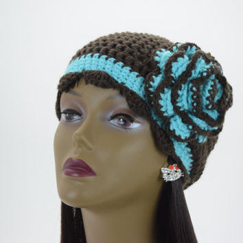 Black Cloche Hat with Turquoise Flower and Band, Crochet Bucket Hat, Handmade, Womens, 1920s Cloche Hat