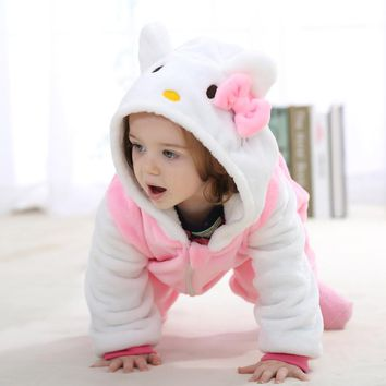 2 Colors Soft KT Rabbit Girls Baby Rompers Flaneel Cartoons Animal  Infant Rompers One Pieces Suit Baby Clothes 0-1-2 Year Old
