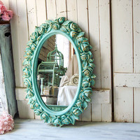 Aqua Homco Rose Oval Mirror, Teal and Gold Rustic Oval Mirror with Flowers, Nursery Mirror, Bathroom Mirror, Wedding Mirror, Shabby Chic