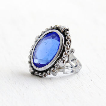 Vintage Art Deco Blue Glass Ring- Size 3 1930s Silver Stone Filigree Glass Costume Jewelry