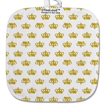 Gold Crowns AOP White Fabric Pot Holder Hot Pad All Over Print by TooLoud