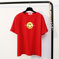 Autumn Summer Smiley Face T-shirt Womens Clothing Tee Print T Shirt Loose Cute Girls  Short Sleeve