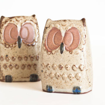 Vintage 1970s Owl Salt and Pepper Shakers, Rustic Earth Tone Stoneware Shakers, Kitsch Kitchen, Made in Japan