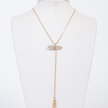 Feather Drop Stone Necklace