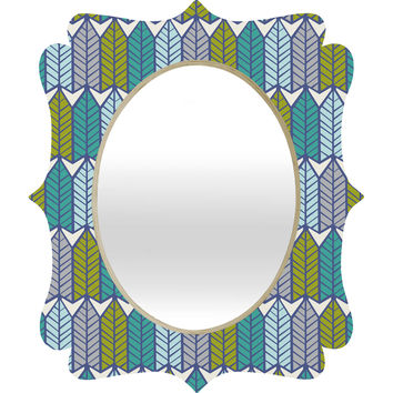 Heather Dutton Arboretum Leafy Greens Quatrefoil Mirror