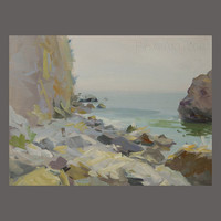 Seascape Sketch - Rocks Sketch - Sea Art - Seascape Art by Yuri Pysar