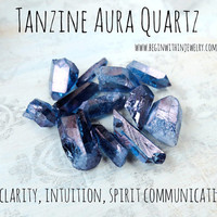 TANZINE AURA QUARTZ Crystal Point / Loose Gemstone Crystal / For Energy Healing, Reiki, Crystal Healing, Wicca
