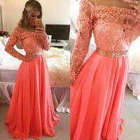 Lace Mosaic Shaped Slim Elegant See Through Prom Dress [4920299972]